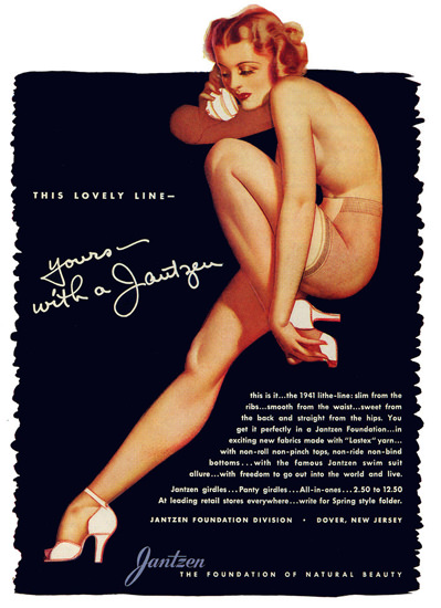 Jantzen Lingerie George Petty 1941 Dover | Sex Appeal Vintage Ads and Covers 1891-1970