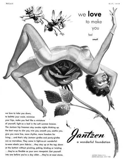 Jantzen Lingerie Love To Make You Small 1948 | Sex Appeal Vintage Ads and Covers 1891-1970