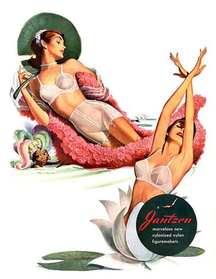 Jantzen Lingerie Nylonized Figure Makers | Sex Appeal Vintage Ads and Covers 1891-1970