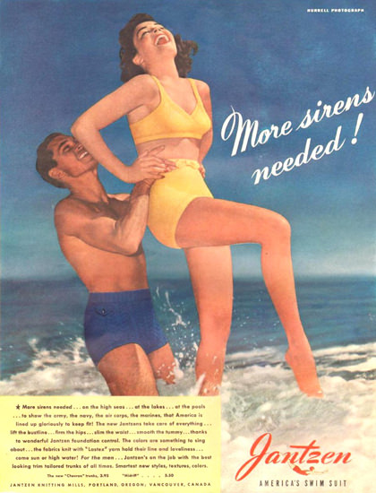 Jantzen More Sirenes Needed Swim Suit 1942 | Sex Appeal Vintage Ads and Covers 1891-1970