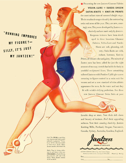Jantzen Running Improves My Figure 1939 George Petty | Sex Appeal Vintage Ads and Covers 1891-1970