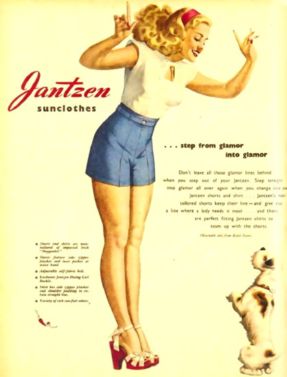 Jantzen Sun Clothes Glamor In To Glamor George Petty | Sex Appeal Vintage Ads and Covers 1891-1970