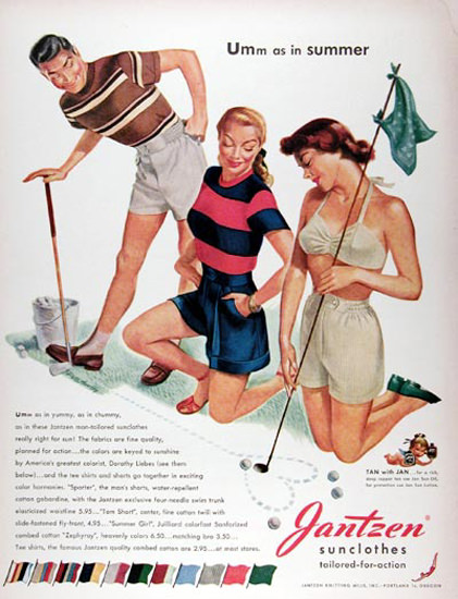 Jantzen Sun Clothes Golf Tailored For Action | Sex Appeal Vintage Ads and Covers 1891-1970