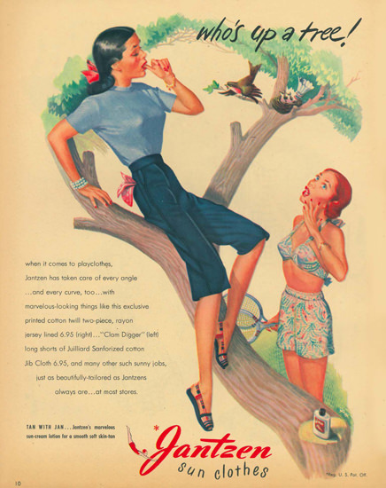 Jantzen Sun Clothes Swim Suits Whos Up A Tree | Sex Appeal Vintage Ads and Covers 1891-1970
