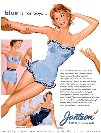 Jantzen Swim Suits Blue Is For Boys 1961   Sex Appeal Vintage Ads and Covers 1891-1970