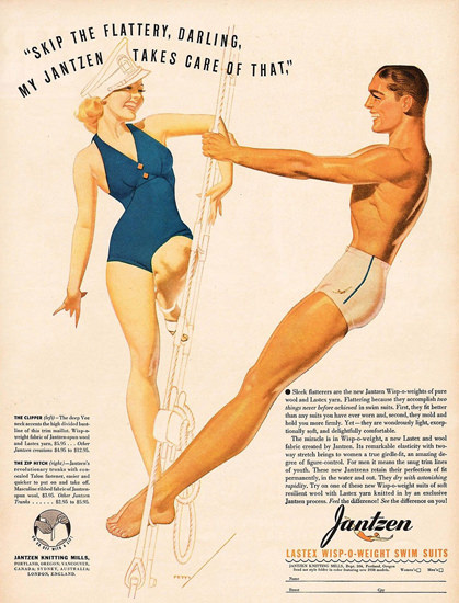 Jantzen Swim Suits Captain Takes Care Of That George Petty | Sex Appeal Vintage Ads and Covers 1891-1970