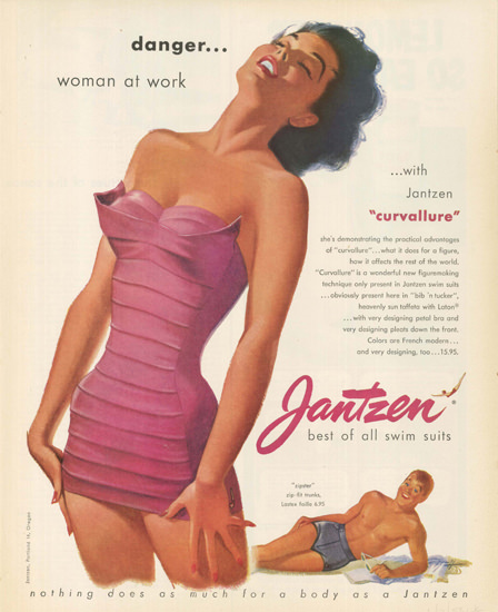Jantzen Swim Suits Curvallure Danger 1953 | Sex Appeal Vintage Ads and Covers 1891-1970