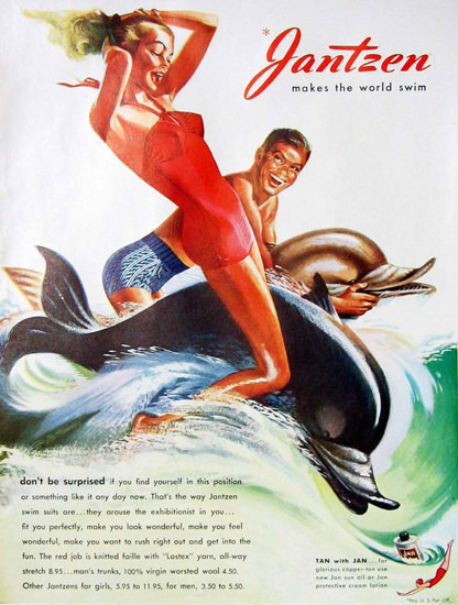 Jantzen Swim Suits Dolphin Tan With Jan | Sex Appeal Vintage Ads and Covers 1891-1970