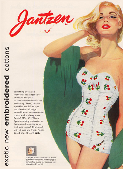 Jantzen Swim Suits Exotic Embroidered Cottons | Sex Appeal Vintage Ads and Covers 1891-1970