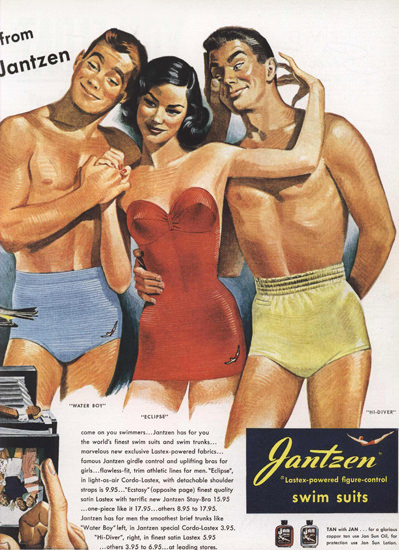 Jantzen Swim Suits Girl Two Men | Sex Appeal Vintage Ads and Covers 1891-1970