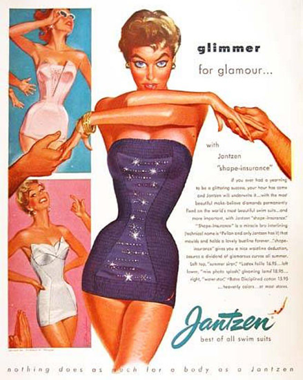 Jantzen Swim Suits Glimmer For Glamour | Sex Appeal Vintage Ads and Covers 1891-1970