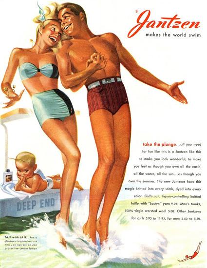 Jantzen Swim Suits Makes The World Swim | Sex Appeal Vintage Ads and Covers 1891-1970