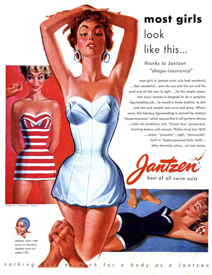 Jantzen Swim Suits Most Girls Look Like This | Sex Appeal Vintage Ads and Covers 1891-1970