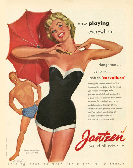 Jantzen Swim Suits Now Playing Everywhere | Sex Appeal Vintage Ads and Covers 1891-1970