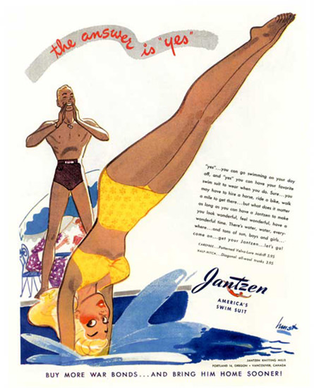 Jantzen Swim Suits The Answer Is Yes | Sex Appeal Vintage Ads and Covers 1891-1970