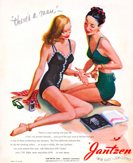 Jantzen Swim Suits Theres A Man 1946 Portland | Sex Appeal Vintage Ads and Covers 1891-1970