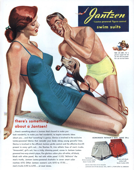 Jantzen Swim Suits Theres Something Portland | Sex Appeal Vintage Ads and Covers 1891-1970