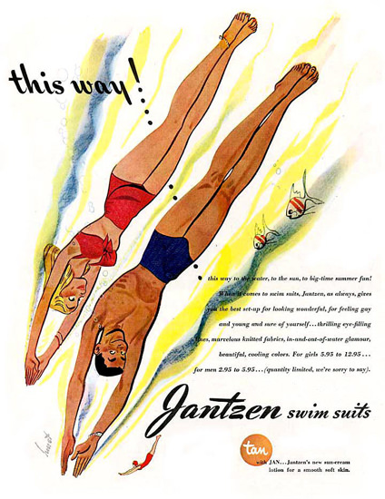 Jantzen Swim Suits This Way Dive | Sex Appeal Vintage Ads and Covers 1891-1970