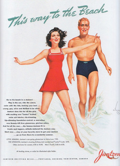 Jantzen Swim Suits This Way To The Beach | Sex Appeal Vintage Ads and Covers 1891-1970