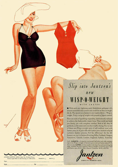 Jantzen Swim Suits Wisp-O-Weight George Petty | Sex Appeal Vintage Ads and Covers 1891-1970