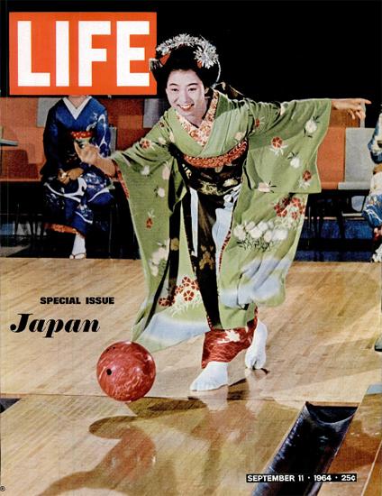 Japan Geisha playing Bowling 11 Sep 1964 Copyright Life Magazine | Life Magazine Color Photo Covers 1937-1970
