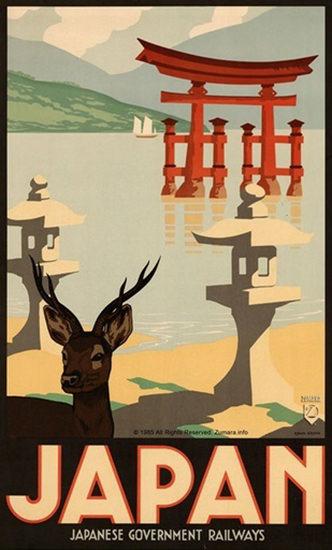 Japan Itsukushima Shrine Gov Railways 1965   Vintage Travel Posters 1891-1970