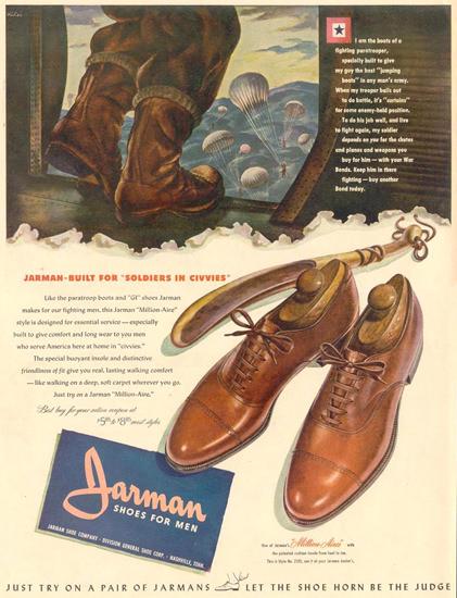 Jarman Shoes For Men 1944 | Vintage War Propaganda Posters 1891-1970