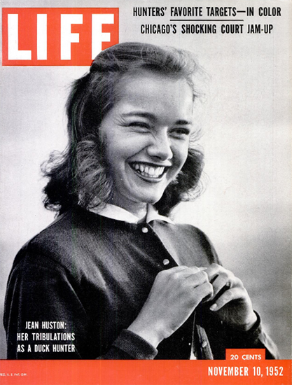 Jean Huston as a Duck Hunter 10 Nov 1952 Copyright Life Magazine | Life Magazine BW Photo Covers 1936-1970