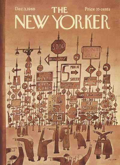 Jean-Michel Folon The New Yorker 1966_12_03 Copyright | The New Yorker Graphic Art Covers 1946-1970