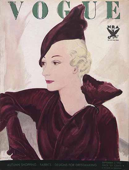 Jean Pages Vogue Cover 1933-09-01 Copyright | Vogue Magazine Graphic Art Covers 1902-1958