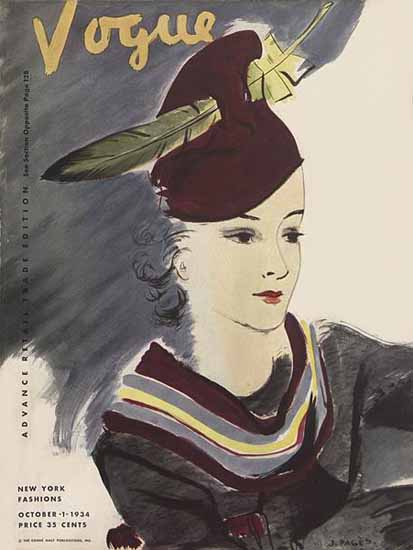 Jean Pages Vogue Cover 1934-10-01 Copyright   Vogue Magazine Graphic Art Covers 1902-1958