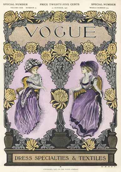 Jean Parke Vogue Cover 1907-10-10 Copyright | Vogue Magazine Graphic Art Covers 1902-1958