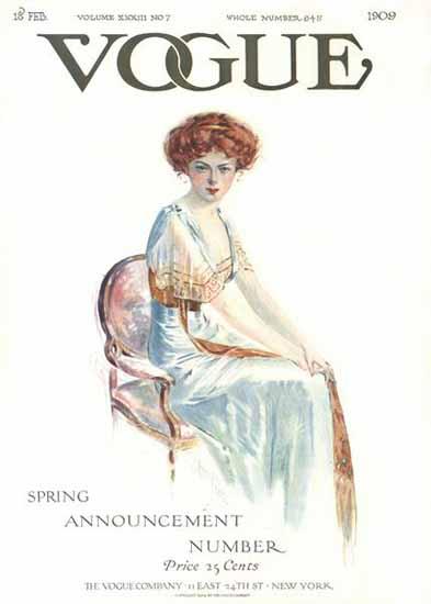 Jean Parke Vogue Cover 1909-02-18 Copyright | Vogue Magazine Graphic Art Covers 1902-1958