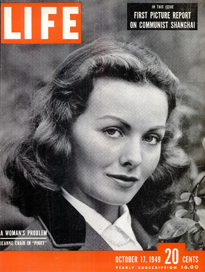 Jeanne Crain in Pinky 17 Oct 1949 Copyright Life Magazine | Life Magazine BW Photo Covers 1936-1970