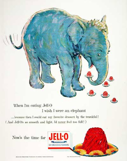 Jell-O 1954 I Wish I Were An Elephant | Vintage Ad and Cover Art 1891-1970