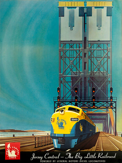 Jersey Central Railroad GM Locomotives 1948 | Vintage Travel Posters 1891-1970