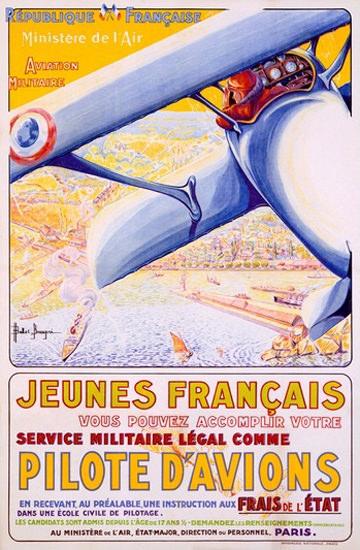 Jeunes Francais Service Militaire Comme Pilot   Vintage War Propaganda Posters 1891-1970