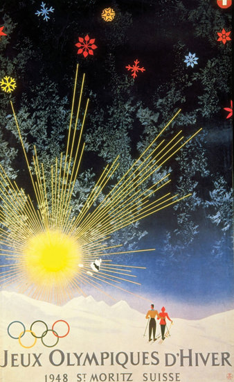 Jeux Olympiques D Hiver St Moritz Suisse 1948 | Vintage Ad and Cover Art 1891-1970