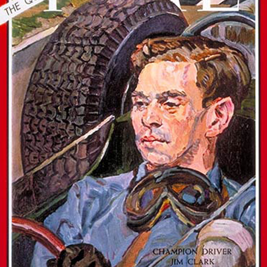 Jim Clark Time Magazine 1965-07 by Henry Koerner crop | Best of Vintage Cover Art 1900-1970