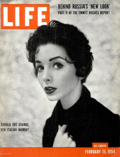 Joanne Gilbert Italian Hairdo 15 Feb 1954 Copyright Life Magazine | Life Magazine BW Photo Covers 1936-1970