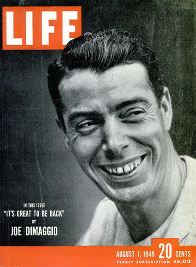 Joe Dimaggio is back 1 Aug 1949 Copyright Life Magazine | Life Magazine BW Photo Covers 1936-1970