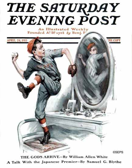John A Coughlin Saturday Evening Post Baseball Mirror 1915_04_24 | The Saturday Evening Post Graphic Art Covers 1892-1930