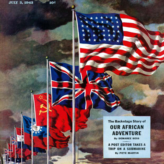 John Atherton Saturday Eve Post Allied Forces 1943_07_03 Copyright crop | Best of Vintage Cover Art 1900-1970