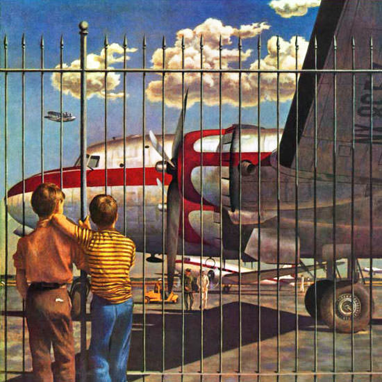 John Atherton Saturday Evening Post Airport 1946_03_30 Copyright crop | Best of Vintage Cover Art 1900-1970