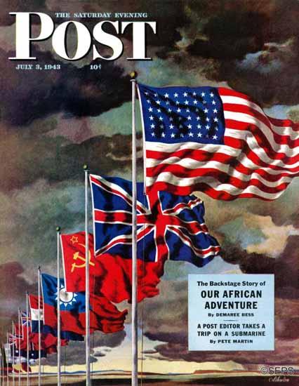 John Atherton Saturday Evening Post Allied Forces Flags 1943_07_03 | The Saturday Evening Post Graphic Art Covers 1931-1969