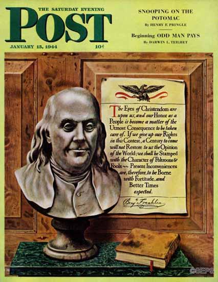 John Atherton Saturday Evening Post Benjamin Franklin Quote 1944_01_15   The Saturday Evening Post Graphic Art Covers 1931-1969