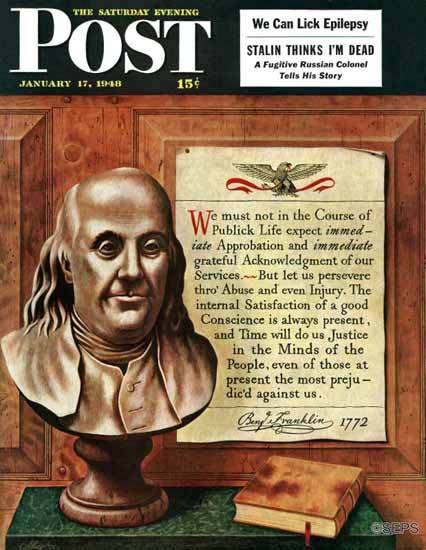John Atherton Saturday Evening Post Benjamin Franklin Quote 1948_01_17   The Saturday Evening Post Graphic Art Covers 1931-1969