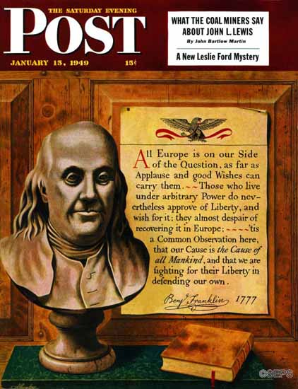 John Atherton Saturday Evening Post Benjamin Franklin Quote 1949_01_15 | The Saturday Evening Post Graphic Art Covers 1931-1969