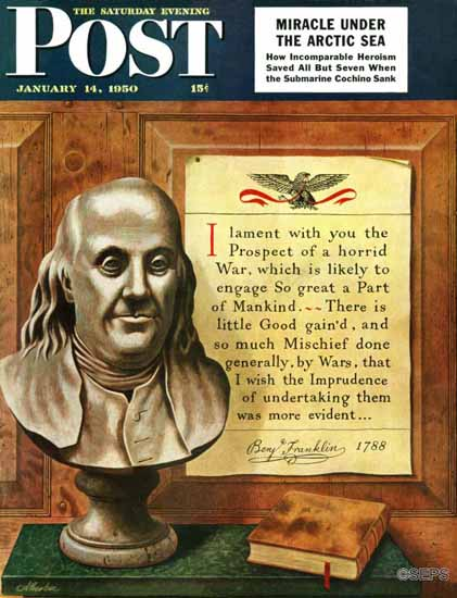 John Atherton Saturday Evening Post Benjamin Franklin Quote 1950_01_14 | The Saturday Evening Post Graphic Art Covers 1931-1969
