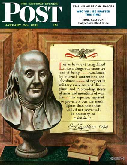 John Atherton Saturday Evening Post Benjamin Franklin Quote 1951_01_20 | The Saturday Evening Post Graphic Art Covers 1931-1969